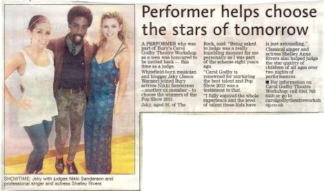 Jsky Bury Journal - Performer helps choose the stars of tomorrow